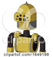 Yellow Droid With Dome Head And Speakers Mouth And Bug Eyes And Spike Tip