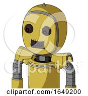 Yellow Droid With Bubble Head And Dark Tooth Mouth And Red Eyed And Spike Tip