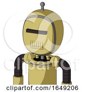 Yellow Droid With Bubble Head And Toothy Mouth And Black Visor Cyclops And Single Antenna