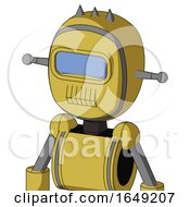 Yellow Droid With Bubble Head And Toothy Mouth And Large Blue Visor Eye And Three Spiked