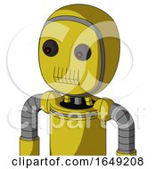 Yellow Droid With Bubble Head And Toothy Mouth And Red Eyed