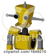Yellow Droid With Cylinder Conic Head And Pipes Mouth And Two Eyes And Spike Tip