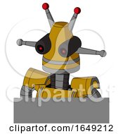 Yellow Droid With Cone Head And Black Glowing Red Eyes And Double Led Antenna