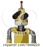 Yellow Droid With Cone Head And Teeth Mouth And Three Eyed And Single Led Antenna
