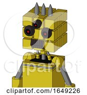 Yellow Droid With Cube Head And Dark Tooth Mouth And Three Eyed And Three Spiked