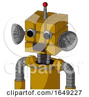Yellow Droid With Cube Head And Dark Tooth Mouth And Two Eyes And Single Led Antenna