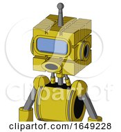 Yellow Droid With Cube Head And Round Mouth And Large Blue Visor Eye And Single Antenna