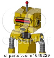 Yellow Droid With Cube Head And Round Mouth And Visor Eye And Single Led Antenna