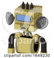 Yellow Droid With Cube Head And Sad Mouth And Large Blue Visor Eye And Three Dark Spikes