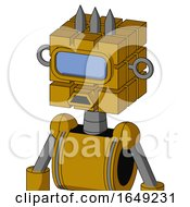 Yellow Droid With Cube Head And Sad Mouth And Large Blue Visor Eye And Three Spiked