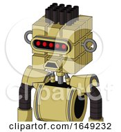 Yellow Droid With Cube Head And Sad Mouth And Visor Eye And Pipe Hair
