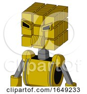 Yellow Droid With Cube Head And Speakers Mouth And Angry Eyes