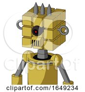 Yellow Droid With Cube Head And Speakers Mouth And Black Cyclops Eye And Three Spiked