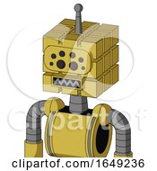 Yellow Droid With Cube Head And Square Mouth And Bug Eyes And Single Antenna