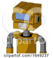 Yellow Droid With Cube Head And Teeth Mouth And Large Blue Visor Eye
