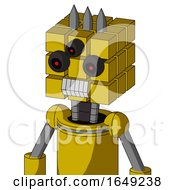 Yellow Droid With Cube Head And Teeth Mouth And Three Eyed And Three Spiked