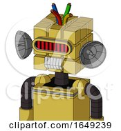 Yellow Droid With Cube Head And Teeth Mouth And Visor Eye And Wire Hair