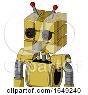 Yellow Droid With Cube Head And Vent Mouth And Black Glowing Red Eyes And Double Led Antenna