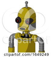 Yellow Automaton With Dome Head And Round Mouth And Black Glowing Red Eyes And Single Antenna