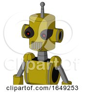 Yellow Automaton With Cylinder Head And Vent Mouth And Black Glowing Red Eyes And Single Antenna