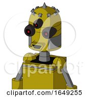 Yellow Automaton With Dome Head And Happy Mouth And Three Eyed And Spike Tip