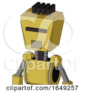 Yellow Droid With Box Head And Vent Mouth And Black Visor Cyclops And Pipe Hair