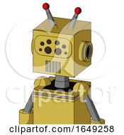 Yellow Droid With Box Head And Vent Mouth And Bug Eyes And Double Led Antenna