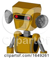 Yellow Droid With Box Head And Speakers Mouth And Visor Eye