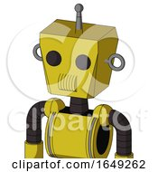 Yellow Droid With Box Head And Speakers Mouth And Two Eyes And Single Antenna