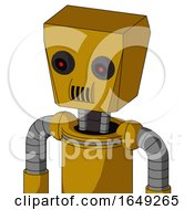 Yellow Droid With Box Head And Speakers Mouth And Black Glowing Red Eyes