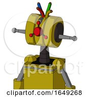 Yellow Automaton With Multi Toroid Head And Cyclops Compound Eyes And Wire Hair