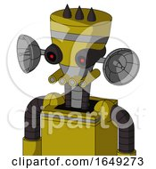 Yellow Automaton With Vase Head And Pipes Mouth And Black Glowing Red Eyes And Three Dark Spikes