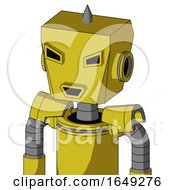 Yellow Droid With Box Head And Happy Mouth And Angry Eyes And Spike Tip