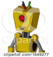 Yellow Droid With Box Head And Happy Mouth And Cyclops Eye And Wire Hair