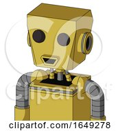 Yellow Droid With Box Head And Happy Mouth And Two Eyes