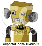 Yellow Droid With Box Head And Keyboard Mouth And Two Eyes