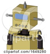 Yellow Droid With Box Head And Pipes Mouth And Large Blue Visor Eye And Spike Tip