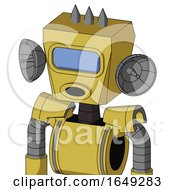 Yellow Droid With Box Head And Round Mouth And Large Blue Visor Eye And Three Spiked