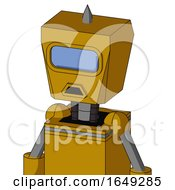 Yellow Droid With Box Head And Sad Mouth And Large Blue Visor Eye And Spike Tip