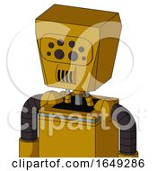 Yellow Droid With Box Head And Speakers Mouth And Bug Eyes