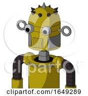 Yellow Automaton With Dome Head And Speakers Mouth And Two Eyes And Spike Tip