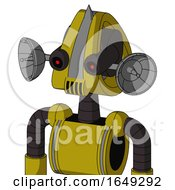 Yellow Automaton With Droid Head And Speakers Mouth And Black Glowing Red Eyes And Spike Tip