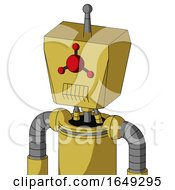 Yellow Droid With Box Head And Toothy Mouth And Cyclops Compound Eyes And Single Antenna