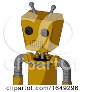 Yellow Droid With Box Head And Toothy Mouth And Red Eyed And Double Antenna