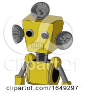 Yellow Droid With Box Head And Toothy Mouth And Two Eyes And Radar Dish Hat