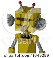 Yellow Automaton With Cube Head And Vent Mouth And Black Visor Cyclops And Double Led Antenna