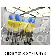 Blue People In The Same Uniforms Standing In An Elevator Symbolizing Teamwork Or Clones Clipart Illustration Graphic