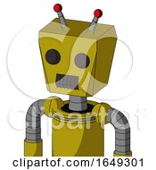 Yellow Automaton With Box Head And Dark Tooth Mouth And Two Eyes And Double Led Antenna