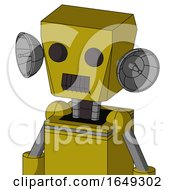 Yellow Automaton With Box Head And Dark Tooth Mouth And Two Eyes