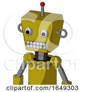 Yellow Automaton With Box Head And Keyboard Mouth And Two Eyes And Single Led Antenna